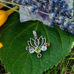 Silver Lotus Flower Pendant w Precious Gemstones